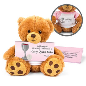 Personalized Host and Silver Chalice Teddy Bear with Belgian Chocolate Bar in Deluxe Gift Box