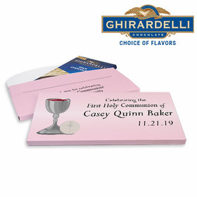 Deluxe Personalized Host & Silver Chalice First Communion Ghirardelli Chocolate Bar in Gift Box