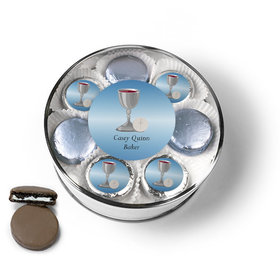 Personalized First Communion Blue Host & Silver Chalice Chocolate Covered Oreo Cookies Extra-Large Plastic Tin