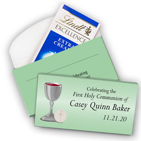 Deluxe Personalized First Communion Lindt Chocolate Bar in Gift Box- Host and Silver Chalice