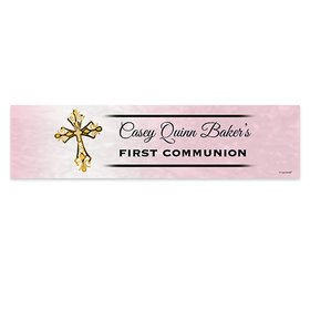 Personalized Communion Gold Cross Banner