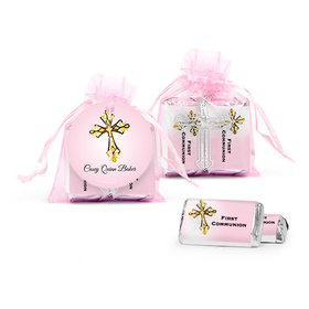 Personalized Communion Host & Silver Chalice Cross Organza Bag with Hershey's Miniatures