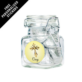Personalized Communion Latch Jar Gold Cross (12 Pack)