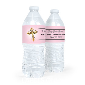 Personalized Communion Gold Cross Water Bottle Sticker Labels (5 Labels)