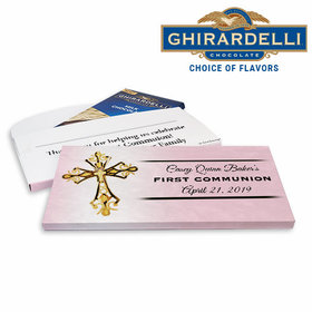 Deluxe Personalized Gold Cross First Communion Ghirardelli Chocolate Bar in Gift Box