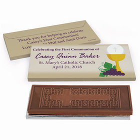 Deluxe Personalized Chalice & Eucharist First Communion Embossed Chocolate Bar in Gift Box