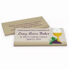 Deluxe Personalized Chalice & Eucharist First Communion Chocolate Bar in Gift Box