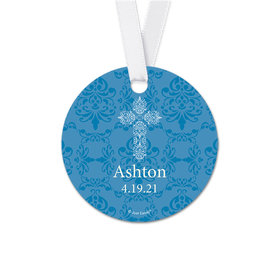 Personalized Elegant Cross Communion Round Favor Gift Tags (20 Pack)