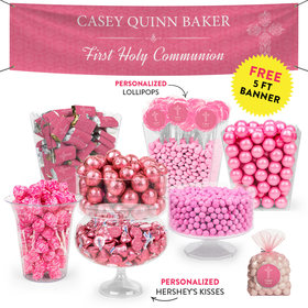 Personalized Girl First Communion Elegant Cross Deluxe Candy Buffet