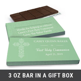 Deluxe Personalized Elegant Cross First Communion Chocolate Bar in Gift Box (3oz Bar)