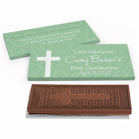 Deluxe Personalized Initial Cross First Communion Embossed Chocolate Bar in Gift Box