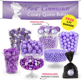 Personalized Girl First Communion Purple Child in Prayer Deluxe Candy Buffet
