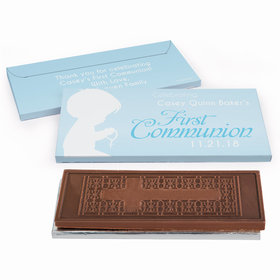 Deluxe Personalized Child in Prayer First Communion Embossed Chocolate Bar in Gift Box