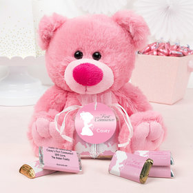 Personalized Girl Communion Precious Prayers Pink Teddy Bear and Organza Bag with Hershey's Miniatures