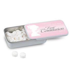 Personalized Communion Child in Prayer Mint Tin (12 Pack)