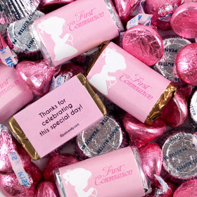 First Communion Girl in Prayer Mix Hershey's Miniatures, Kisses and JC Peanut Butter Cups