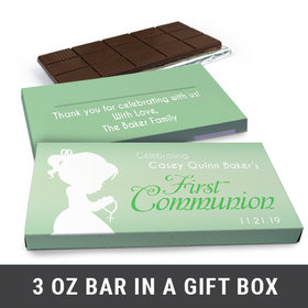 Deluxe Personalized Child in Prayer First Communion Chocolate Bar in Gift Box (3oz Bar)