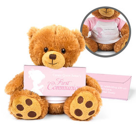 Personalized Child in Prayer Teddy Bear with Belgian Chocolate Bar in Deluxe Gift Box