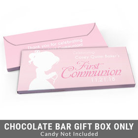 Deluxe Personalized Child in Prayer First Communion Candy Bar Favor Box