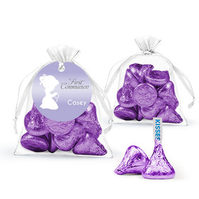 Personalized First Communion Child in Prayer Hershey's Kisses in Organza Bags with Gift Tag