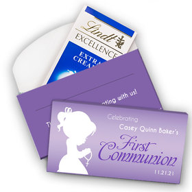 Deluxe Personalized First Communion Lindt Chocolate Bar in Gift Box- Girl in Prayer