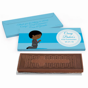Deluxe Personalized Little Boy in Prayer First Communion Embossed Chocolate Bar in Gift Box