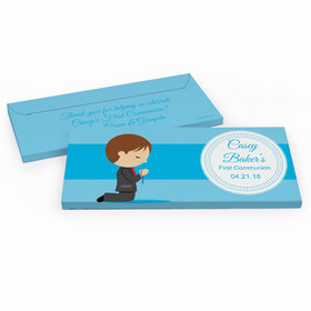 Deluxe Personalized Little Boy in Prayer First Communion Chocolate Bar in Gift Box