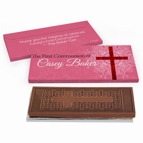 Deluxe Personalized Shining Day First Communion Embossed Chocolate Bar in Gift Box