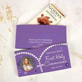 Deluxe Personalized First Communion Godiva Chocolate Bar in Gift Box- Rosary