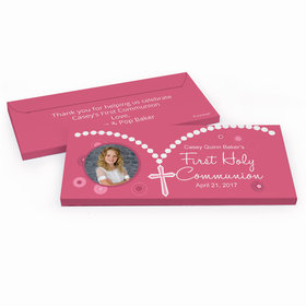 Deluxe Personalized Roserary Photo First Communion Chocolate Bar in Gift Box