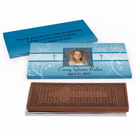 Deluxe Personalized Photo, Cross & Scroll First Communion Embossed Chocolate Bar in Gift Box