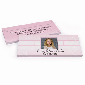 Deluxe Personalized Photo, Cross & Scroll First Communion Chocolate Bar in Gift Box