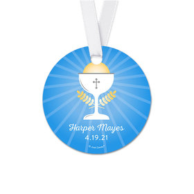 Personalized Chalice Communion Round Favor Gift Tags (20 Pack)