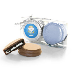 First Communion Blue Chalice & Holy Host 2Pk Belgian Chocolate Covered Oreo Cookies