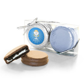 Personalized First Communion Blue Chalice & Holy Host 2PK Belgian Chocolate Covered Oreo Cookies