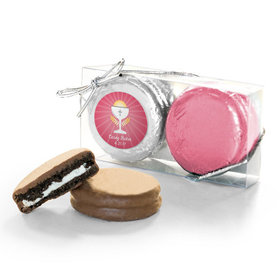Personalized First Communion Pink Chalice & Holy Host 2PK Belgian Chocolate Covered Oreo Cookies