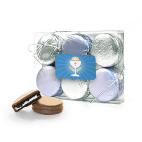 First Communion Blue Chalice & Holy Host 6PK Belgian Chocolate Covered Oreo Cookies