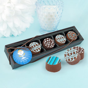 Personalized Boy First Communion Chalice Gourmet Chocolate Truffle Gift Box (5 Truffles)