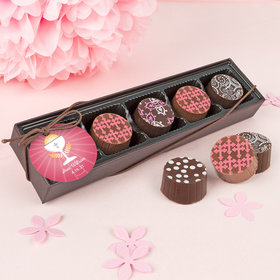 Personalized Girl First Communion Chalice Gourmet Belgian Chocolate Truffle Gift Box (5 Truffles)