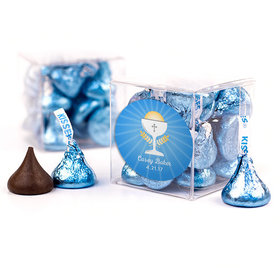 Personalized First Communion Blue Chalice & Holy Host Clear Gift Box with Sticker