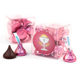 First Communion Pink Chalice & Holy Host Clear Gift Box with Sticker