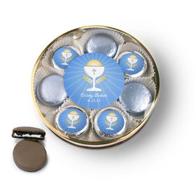 Personalized First Communion Blue Chalice & Holy Host Belgian Chocolate Covered Oreo Cookies Large Plastic Tin