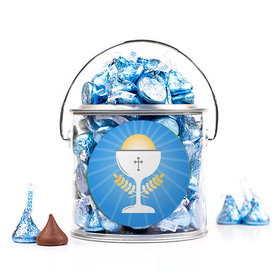 First Communion Blue Chalice & Holy Host Silver Paint Can with Sticker