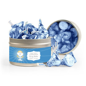 Personalized First Communion Blue Chalice & Holy Host 8oz Tin with Label