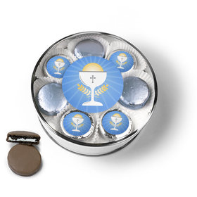 First Communion Blue Chalice & Holy Host Chocolate Covered Oreo Cookies Extra-Large Plastic Tin