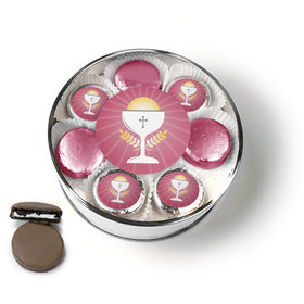 First Communion Pink Chalice & Holy Host Chocolate Covered Oreo Cookies Extra-Large Plastic Tin