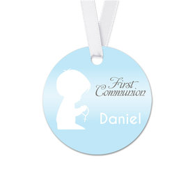 Personalized Child in Prayer Communion Round Favor Gift Tags (20 Pack)