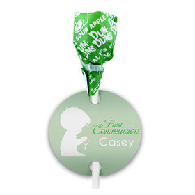 Personalized Boy Child in Prayer First Communion Dum Dums with Gift Tag (75 pops)