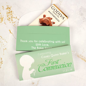 Deluxe Personalized First Communion Godiva Chocolate Bar in Gift Box- Child in Prayer