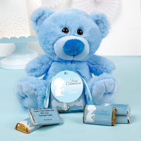 Personalized Boy Communion Precious Prayers Blue Teddy Bear and Organza Bag with Hershey's Miniatures